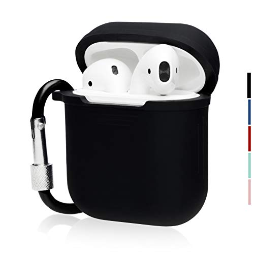 The OAKS Improved Airpods Case Protective Cover Skin with Lockable Carabiner and Airpods Strap Compatible with Airpods Charger Case (5 Colours Available) (Black)