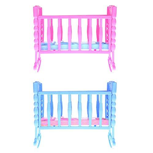 Pink Baby Rocking Bed ,Awakingdemi Mini Doll Girl Toy Furniture Rocking Cradle Bed for Barbie Doll ()
