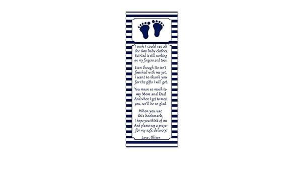 50 marcapáginas para baby shower, diseño de huellas de pies azules ...