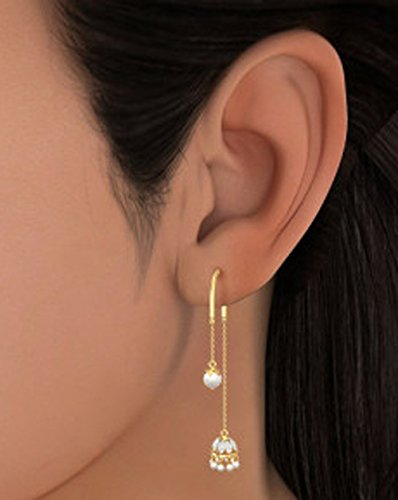 14K Or jaune 0.12CT TW White-diamond (IJ | SI) et blanc perle Pendants d'oreilles