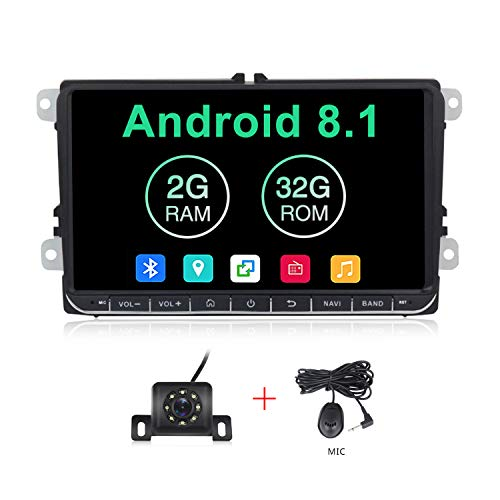 Android 8.1 OS 9'' Multimedia Navigation 2GB RAM 32 ROM Car Radio for Volkswagen Passat Golf MK5 Jetta Tiguan T5 Skoda Beetle Touch Screen with Button Car Stereo for VW
