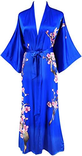 Ledamon Women's 100% Silk Kimono Long Robe - Classic Colors and Prints (Sapphire Blue -2)
