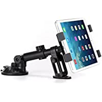 Premium Car Mount Dash Tablet Holder Swivel Cradle Dashboard Dock Stand Suction Black Adjustable for iPad 4, Air, 2, Mini, 2, 3, 4, Pro 9.7 - LG G Pad 10.1 7.0 8.0 8.3 F 8.0 - Verizon Ellipsis 7, 8