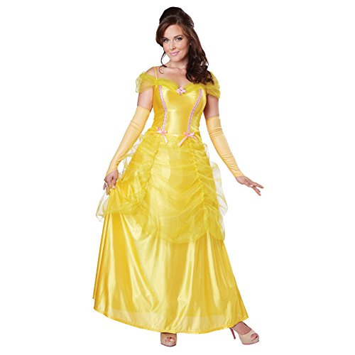 California Costumes Women's Classic Beauty Fairytale Princess Long Dress Gown, Yellow, (Fairy Fancy Dress Adults)