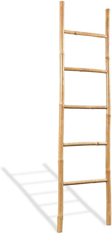 vidaXL Escalera para Toallas 5 Peldaños Bambú 150 cm Estante Soporte Perchero: Amazon.es: Hogar