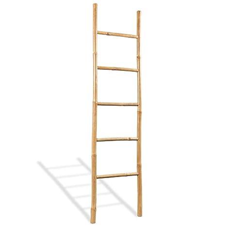 vidaXL Escalera para Toallas 5 Peldaños Bambú 150 cm Estante ...