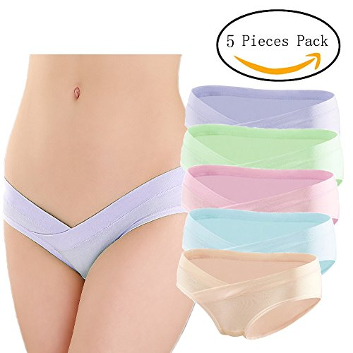 5 Pcs Womens Under Bump Cotton Maternity Panties Healthy Underwear, Multi Pack
