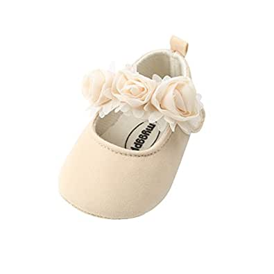 Kuner Baby Girls Lace Bow Mary Jane Princess Shoes No-Slip First Walkers Shoes (11cm(0-6months), Beige Flowers)