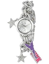 Women's TK2023 Tinkerbell Silver Sunray Dial Charm Bracelet Watch