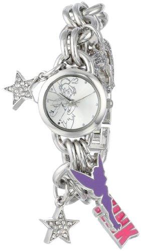 Disney Women's TK2023 Tinkerbell Silver Sunray Dial Charm Bracelet Watch ()