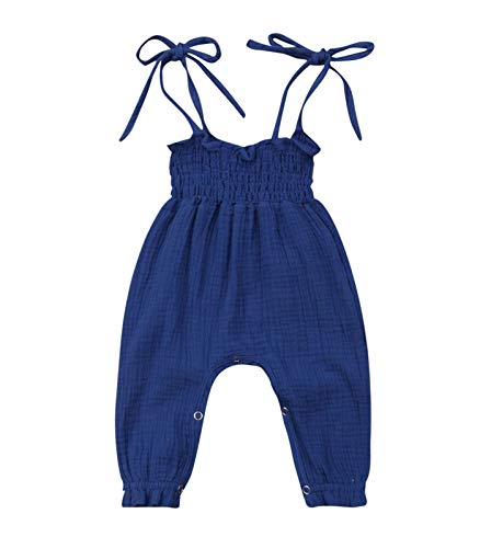 Kids Toddler Baby Girl Red Plaid Big Bow Sleeveless Romper Jumpsuit Trousers Clothes Outfits (9-12 Months, Navy ()