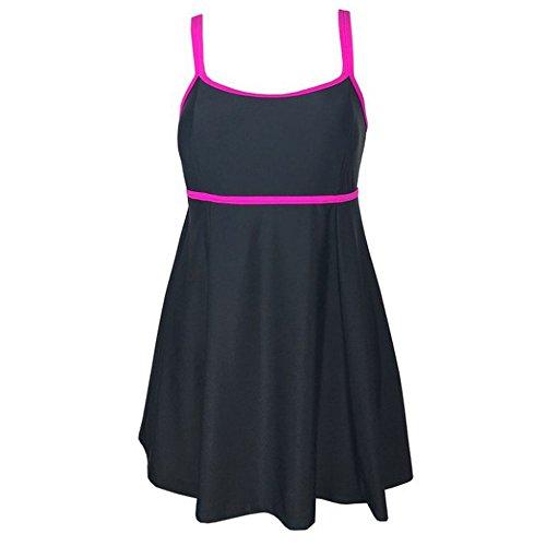 LYB Women's Plus Size Swimdress One Piece Cover Up Swimsuit Tankini Beachwear(2X-Large, Pink)