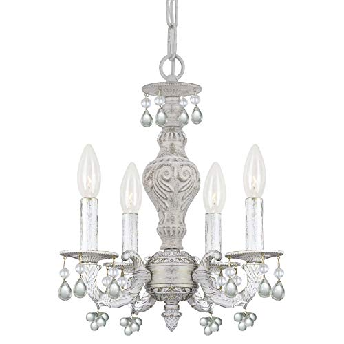 (Crystorama 5224-AW-CLEAR Crystal Accents Four Light Mini Chandelier from Paris Market collection in Whitefinish, 13.50 inches)