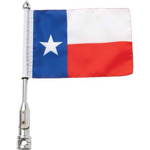 Diamond Texas Plate - Diamond Plate 3pc Motorcycle Flagpole Mount With Texas And Usa Flag- Tx/usa