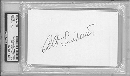 - Art Linkletter Signed Authentic Autographed 3x5 Index Card Slabbed PSA/DNA