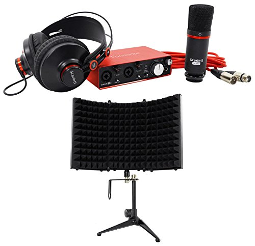 Package: Focusrite SCARLETT STUDIO 2i2 MK2 192kHz USB 2 0 Audio Interface  With Microphone and Headphones + Rockville RMF1 Stu