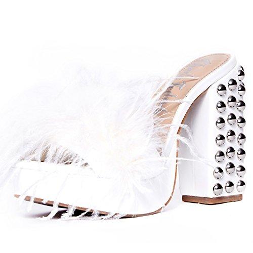 (Charla Tedrick Fifi', Platform Marabou Slipper, White, 6)