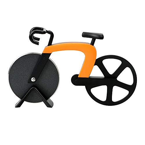 Bicycle Pizza Cutter with Stainless Steel Wheel Blade,2019 New Style Super Sharp and Easy To Clean (Orange)