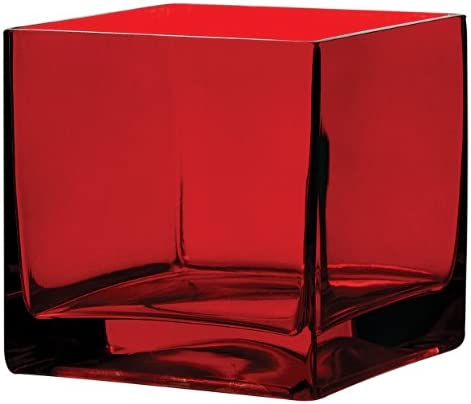 Syndicate Sales 5 x 5 x 5 Square Vase, Ruby