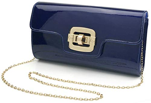 eather Evening Clutch Women Chain Shoulder Bag Twist Locked Purse (Navy) ()