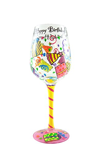 Top Shelf Happy Birthday Wine Glass - Hand Painted - Gifts for Adults