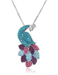 Carnevale Sterling Silver Peacock Made with Swarovski Elements Pendant Necklace, 18""