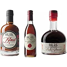 BliS Variety Pack (Pure Bourbon Maple Syrup [375ml] + Blast Hot Pepper Sauce [375 ml] + Fish Sauce [200ml]