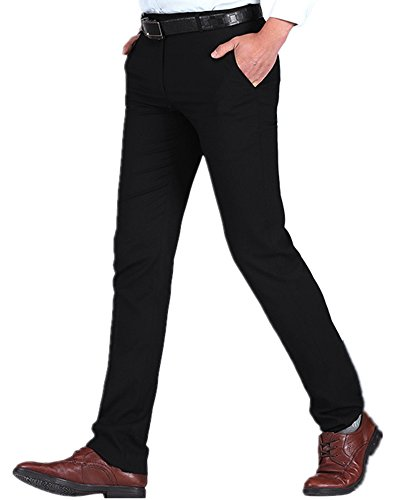 Kalanman Men's Dress Pants Stretch Slim Fit Wrinkle-Free Straight Leg Trousers Suit Pants (US SIZE 36( Tag 38 ), (36 Leg Trousers)