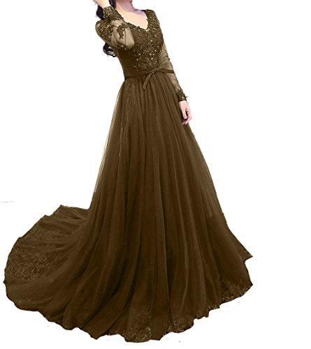 Langes Braun Damen Neu Promkleider Rock Ballkleider 2018 Brautmutterkleider Festlichkleider Abendkleider Linie A Charmant qA7atwq