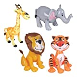 (1DZ) Assorted ZOO ANIMAL INFLATABLES / (12) ZOO INFLATES / TIGER LION ZEBRA ELEPHANT GIRAFFE/Jungle/Safari/Party/Decor/Favor/prize giveaway