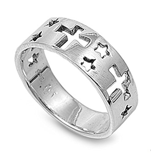 Sterling Silver Women's Star Cutout Cross Ring (Sizes 6-12) (Ring Size (Large Cut Out Cross Ring)