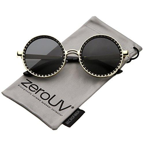 zeroUV - Steampunk Metal Spike Frame Flat Lens Round Sunglasses 50mm (Gold Black / - Spike Sunglasses