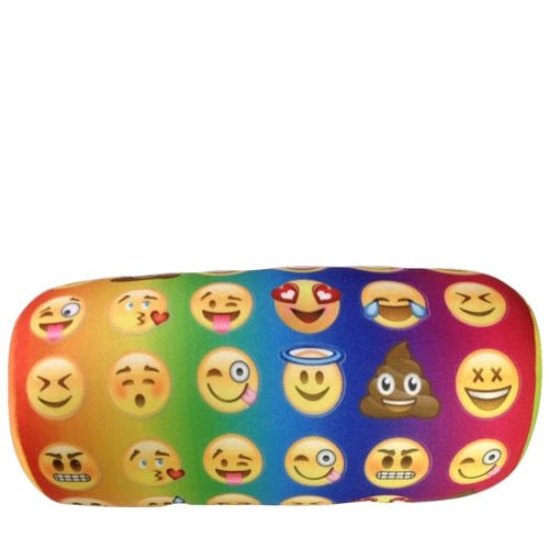 Microbead Emoji Bolster Pillow – Tie Dye Colored Emoji Neck Pillow