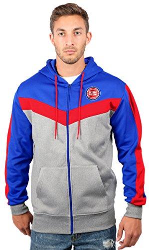 UNK NBA Men's Detroit Pistons Full Zip Hoodie Sweatshirt Jacket Contrast Back Cut, Large, (Detroit Pistons Mens Sweatshirts)