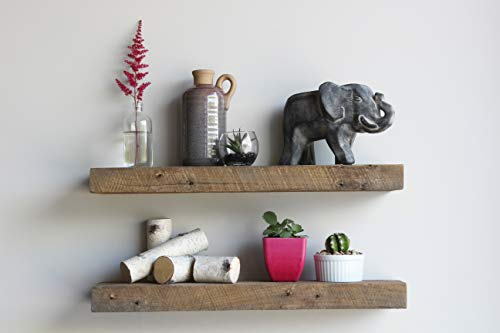 - Urban Legacy Floating Shelves Made from Genuine Reclaimed Wood | Trendy, Modern, Barn Wood | Amish Made in Lancaster County, PA (Natural, 18