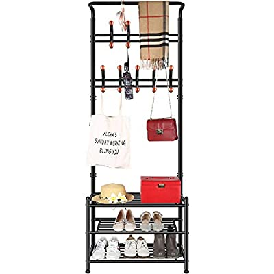 TomCare Coat Rack with 3-Tier Shoe Rack Hall Tree Entryway Bench Organizer 18 Hooks Coat Hanger Hat Racks Heavy Duty with Shoe Storage Shelves Metal Black for Doorway Hallway - Metal Multifunctional: Combined with coat rack, shoe rack and hanging rod, it is a multipurpose rack that will meet your multiple storage needs. The best storage solution for hallway, entryway, doorway and bedroom. We have extra anti-toppling straps to enhance the stability of the coat rack. Space Saving: This rack is equipped with 18 hooks in 4 levels and 3-tier shoe shelves. You can hang your jackets, backpacks, bags, hats, umbrellas, scarves and more; Also you can store your shoes, storage boxes or handbags. - hall-trees, entryway-furniture-decor, entryway-laundry-room - 41ahZZeHVuL. SS400  -