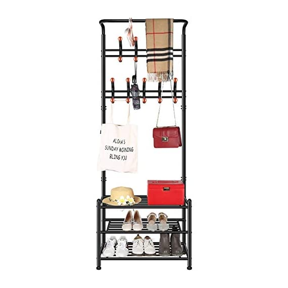 TomCare Coat Rack with 3-Tier Shoe Rack Hall Tree Entryway Bench Organizer 18 Hooks Coat Hanger Hat Racks Heavy Duty with Shoe Storage Shelves Metal Black for Doorway Hallway - Metal Multifunctional: Combined with coat rack, shoe rack and hanging rod, it is a multipurpose rack that will meet your multiple storage needs. The best storage solution for hallway, entryway, doorway and bedroom. We have extra anti-toppling straps to enhance the stability of the coat rack. Space Saving: This rack is equipped with 18 hooks in 4 levels and 3-tier shoe shelves. You can hang your jackets, backpacks, bags, hats, umbrellas, scarves and more; Also you can store your shoes, storage boxes or handbags. - hall-trees, entryway-furniture-decor, entryway-laundry-room - 41ahZZeHVuL. SS570  -