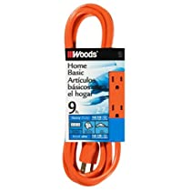 Woods 872 9-Feet 3-Outlet Extension Cord with Power Tap, Orange