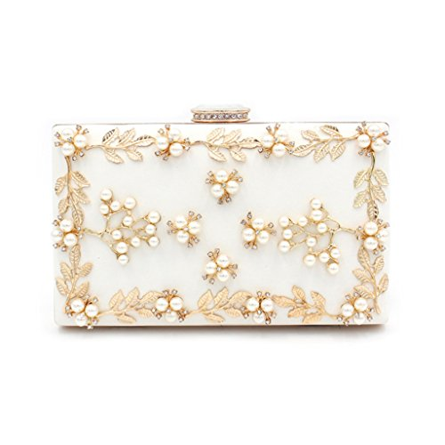 Bag Bags bags Party Noble Evening Evening White Wedding Party Women Clutch Purse Kofun Pearl White Bridal Wedding Women's Beaded Ow7XxEnq