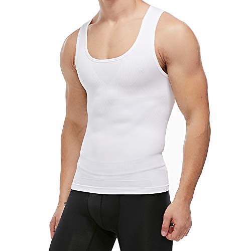 KIWI RATA Mens Compression Undershirts Ultra Slimming Body Shaper Belly Control Vest Workout Active Gynecomastia Tank Tops (Chest Workout To Get Rid Of Moobs)