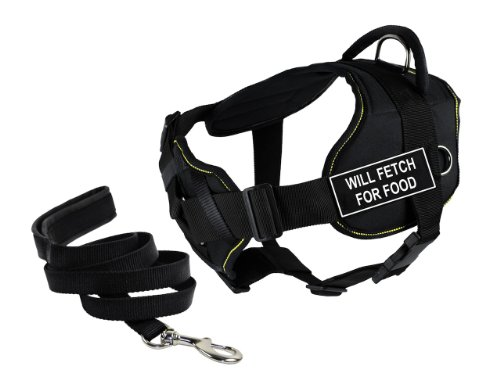Dean & Tyler's DT Fun Chest Support ''WILL FETCH FOR FOOD'' Harness, Medium, with 6 ft Padded Puppy Leash. by Dean & Tyler