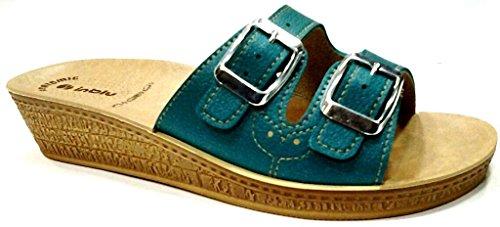 INBLU - Zapatillas de estar por casa para mujer verde aguamarina 30