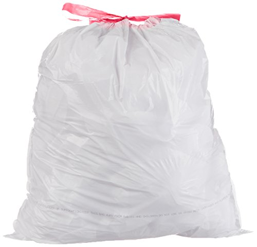 AmazonBasics 13-Gallon Tall Kitchen Trash Bag with Draw String, 0.9 mil, White, 300-Count