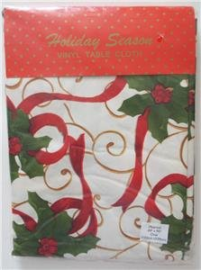 NEW Holiday Seasons CHRISTMAS VINYL TABLE CLOTH Oval 60 x 90 Easy (New Tablecloth)