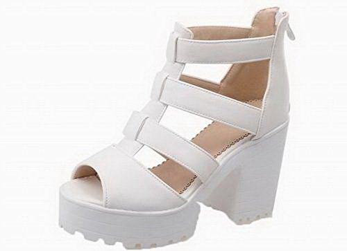 AmoonyFashion Women's Solid Pu High-Heels Buckle Open-Toe Sandals, BUTLT006554, White, 43 -