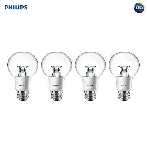 (Philips LED Dimmable G25 Soft White Light Bulb with Warm Glow Effect 800-Lumen, 2700-2200-Kelvin, 7-Watt (40-Watt Equivalent), E26 Base, Clear, 4-Pack)