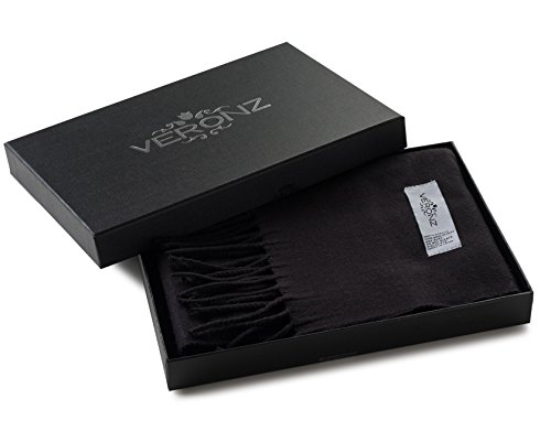 Veronz Super Soft Luxurious Classic Cashmere Feel Winter Scarf (Solid Black) With Gift Box
