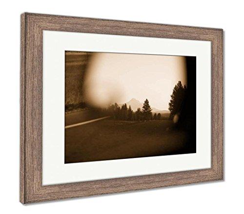 (Ashley Framed Prints Mount Hood Seen in Car Mirror, Wall Art Home Decoration, Sepia, 34x40 (Frame Size), Rustic Barn Wood Frame, AG6509956)