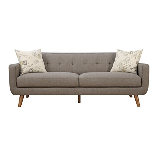 Emerald Home Remix Brown Sofa, With Pillows, Button Tufted Back, Telescoped  Wood Legs