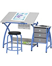 Studio Designs Comet Center with Stool in Blue/Spatter Gray
